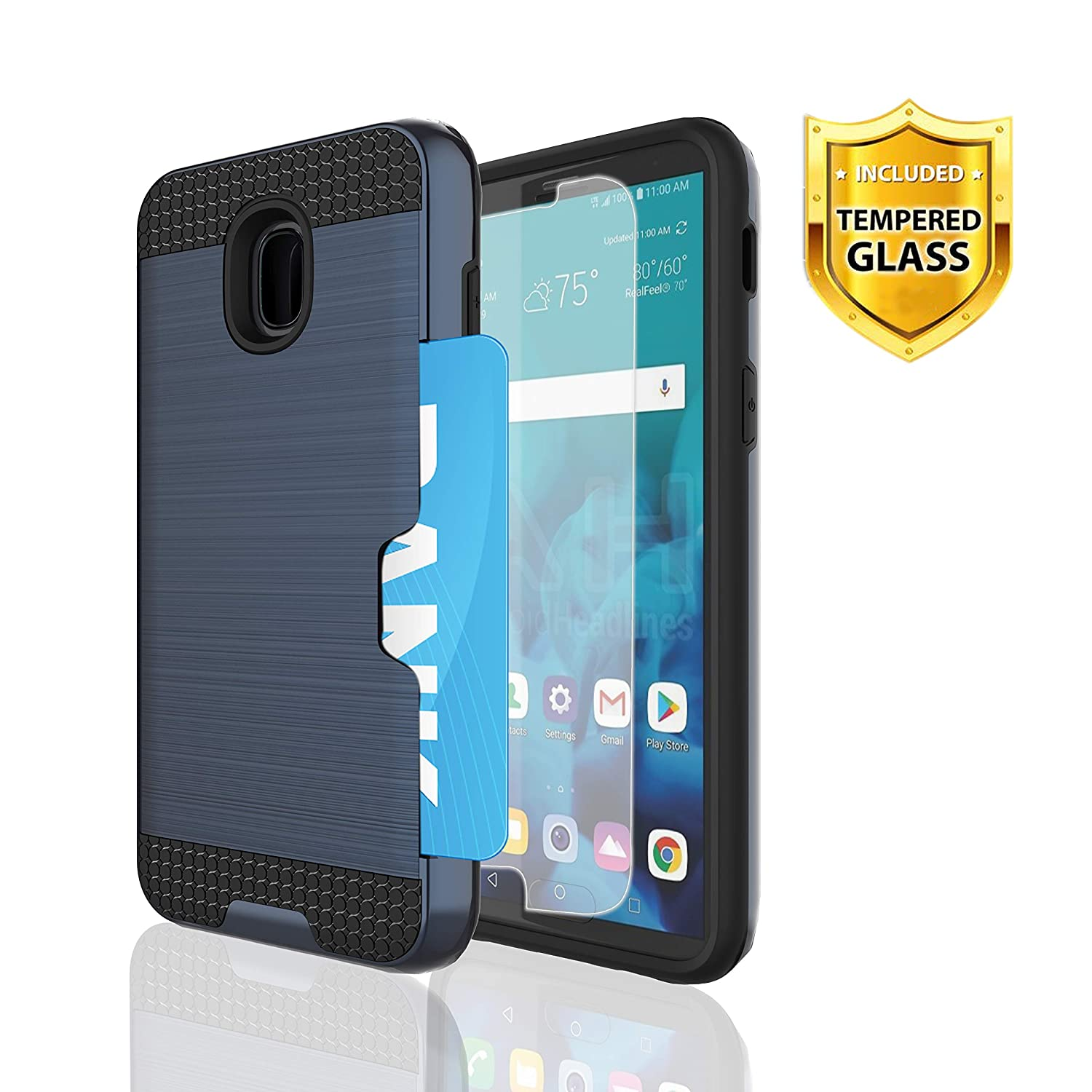 Samsung Galaxy J7 2018 Phone Case,WINGLIKE [Credit Card Slots Holder]  PC+TPU Silicone Shockproof Double Protective Cover with [Glass Screen  Protector]