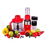 Professional Blender, Chopper, Food Processor with 2 Personal Jars for Single Serve, Smoothie Cup, BPA-Free – Red – 4 Piece Set … (Red)