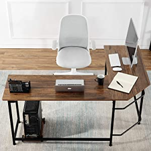 """VECELO Modern L-Shaped Corner Computer Desk with CPU Stand/PC Laptop Study Writing Table Workstation for Home Office Wood & Metal,Walnut,66"""""""