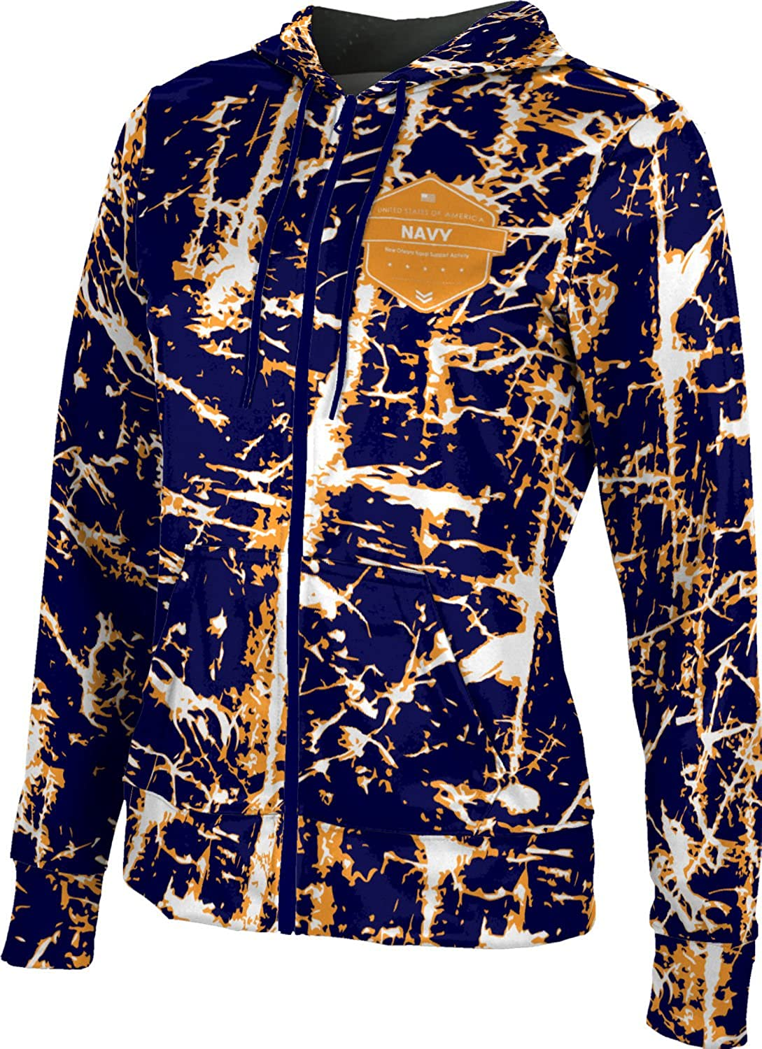 Women's New Orleans Naval Support Activity Military Distressed Fullzip Hoodie