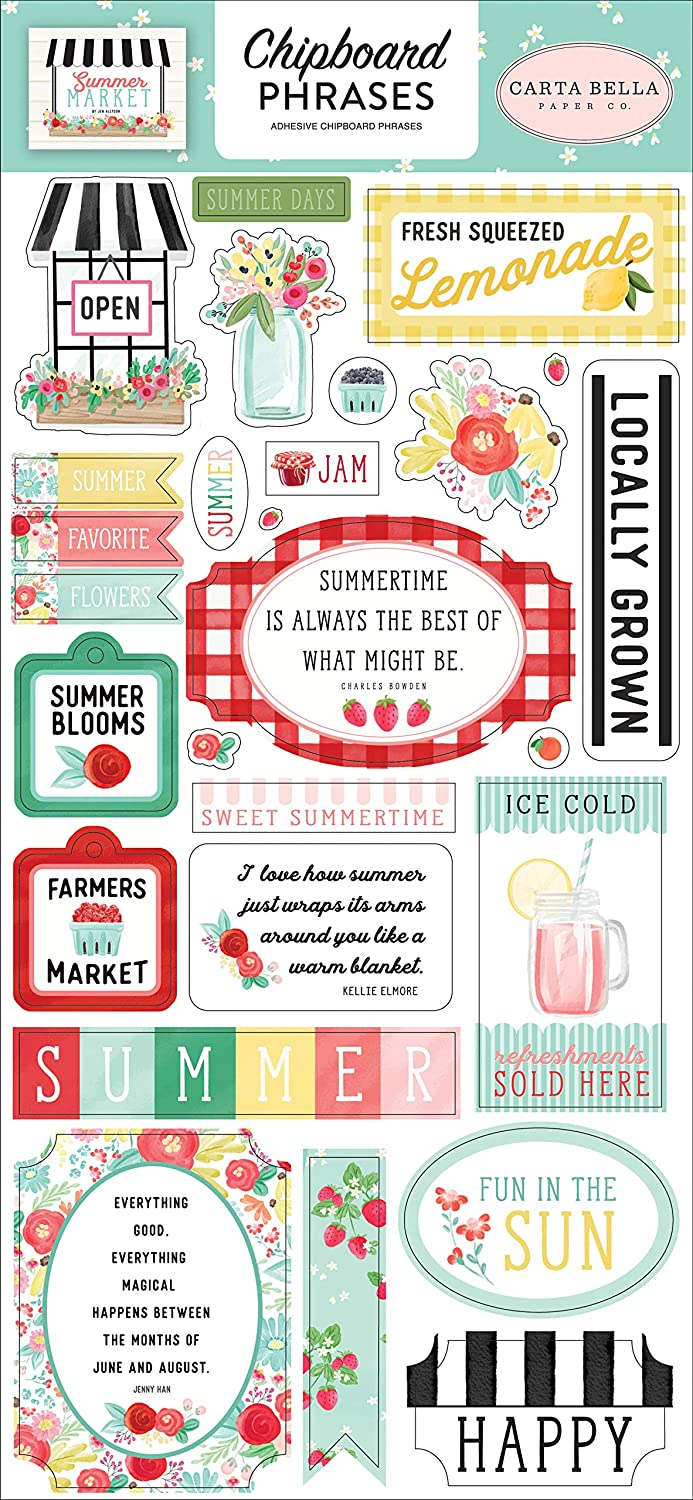 Teal Black Pink Green Carta Bella Paper Company CBSUM115022 Summer Market 6x13 Phrases chipboard red Yellow