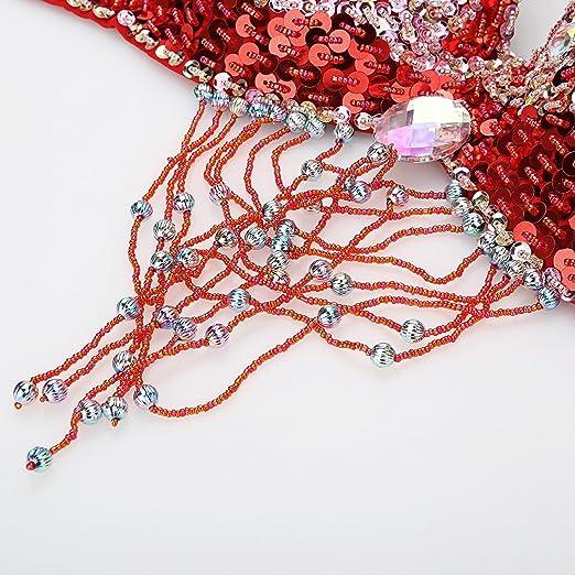 f2253e2e1 Dance Fairy Tassels Belly Dance Bra-Halter Handmade Shiny Flower Rhinestone  Bra(36D 80D) With Belt   Bra Extender