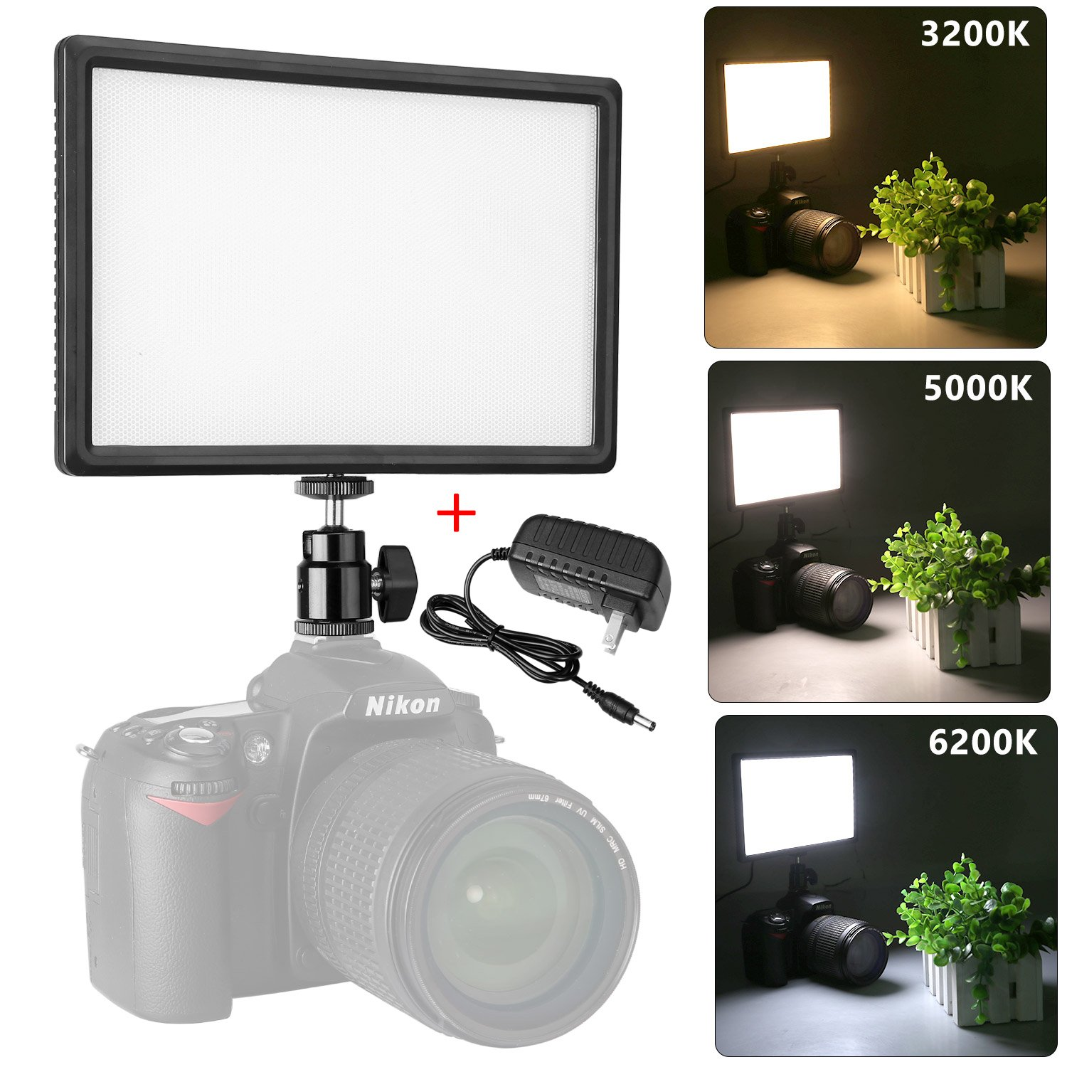 Pangshi Super Slim Dimmable LED Light Panel 3200K-6200K LED Video Light LCD display screen, with hot shoe ball mount, Color temperature and Brightness can be adjusted