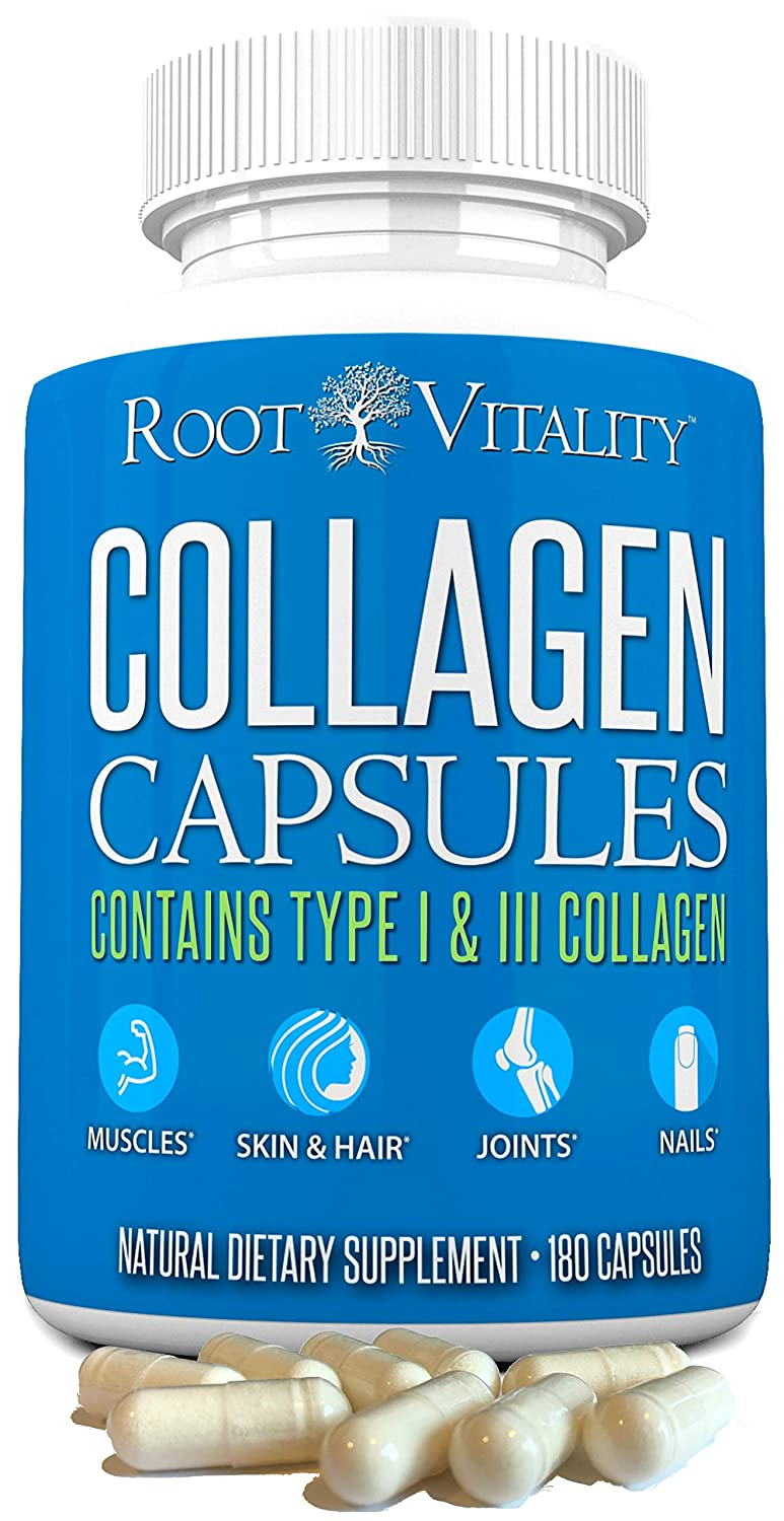 Amazon.com: Root Vitality Collagen Pills - Type 1 & 3, 180 Count, Collagen Capsules, for Women & Men, Benefits Hair, Skin, Nails & Joints, Non-GMO: Health ...