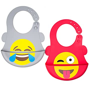 Amazon.com: Emoji bebé de silicona babero por Fomi | 2 ...