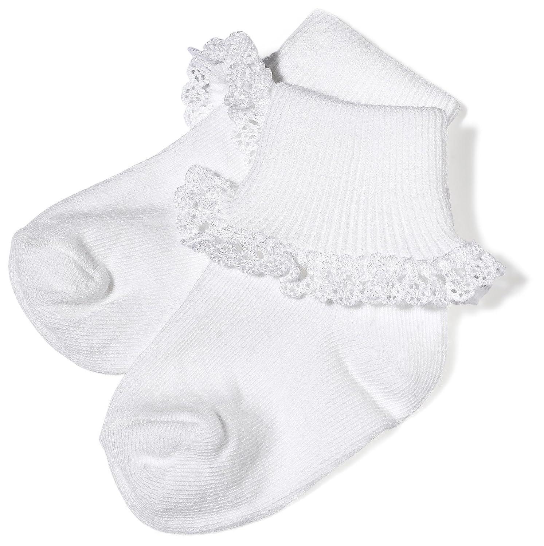 1-3 Months Jefferies Socks Dainty Lace Sock White//White