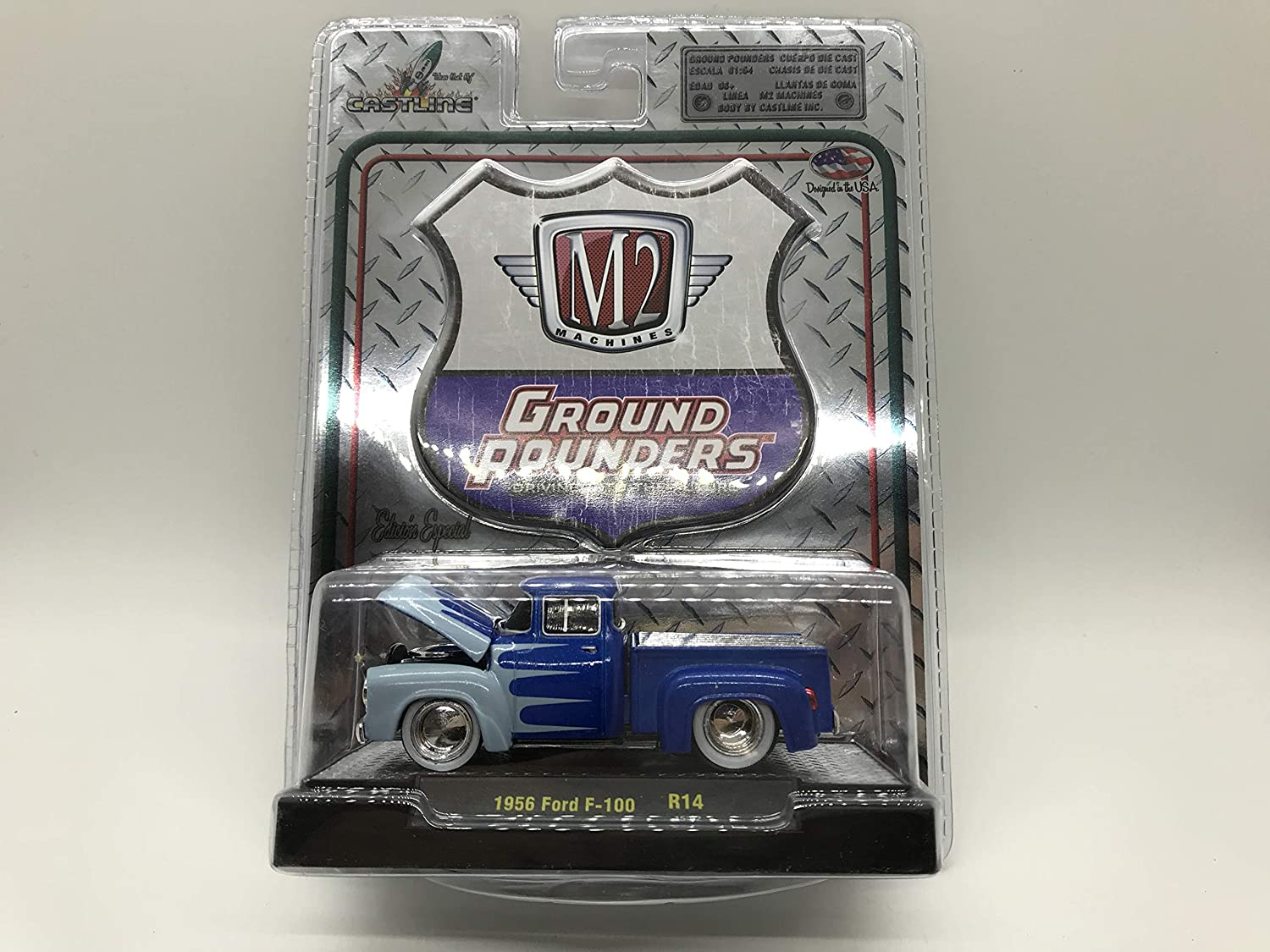 M2 Machines by M2 Collectible Ground Pounders 1956 Ford F-100 1:64 Scale R14 15-02 Blue//Light Blue Details Like NO Other!