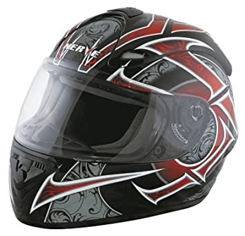 Nerve Casco Integral de Moto, Negro/Rojo, M