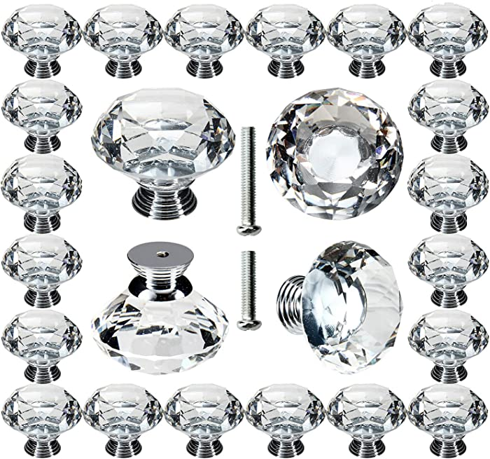 Cabinet Knobs, POZEAN 1.57inch (40mm) Crystal Knobs for Dresser, Drawer, Cabinet 30 Pack with Two Different Sizes Screws, Perfect Decor for Your Home, Living-Room, Kitchen, Bathroom, Office and More
