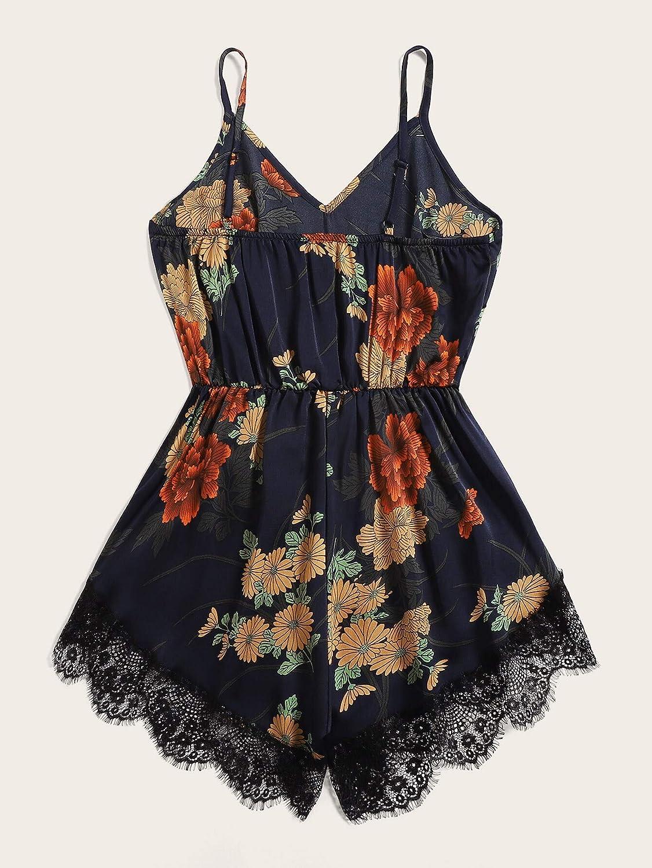 MakeMeChic Womens Summer Plus Strap Knot Back Tropical Print Elastic Waist Casual Loose Romper Jumpsuit