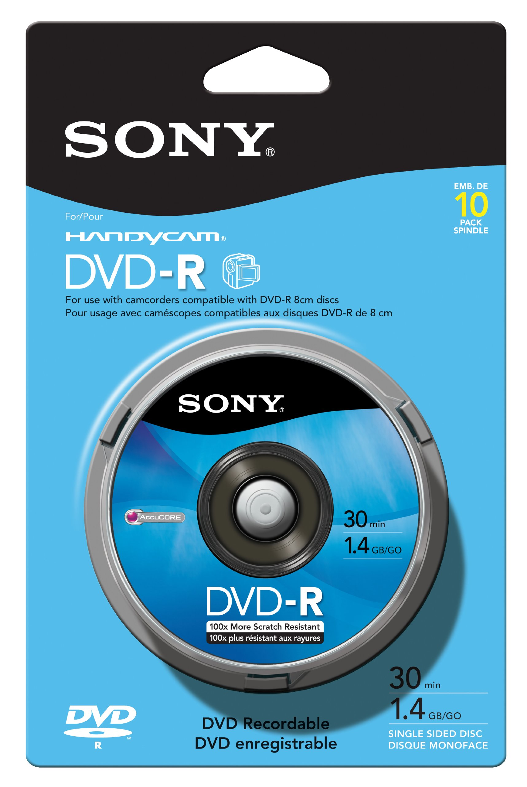 Sony 10DMR30RS1H 8cm DVD-R 10-Pack Spindle Skin Pack by Sony
