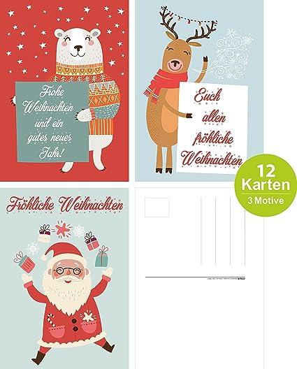 Pack de 12 tarjetas de Navidad con tres diseños, Navidad, pack de ...
