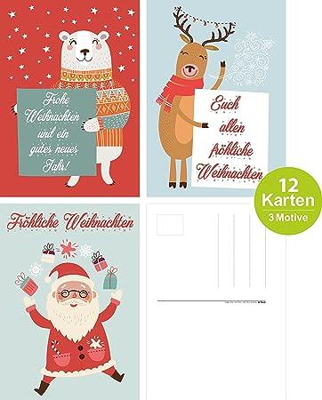 ArtUp.de 12 lustige Weihnachtskarten | Grußkarten Set mit 3 Motiven ...
