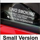 """Lot de 2 petits stickers pour fenêtre de taxi avec message d'avertissement """"No Smoking, Eating, Drinking, CCTV In Operation"""""""