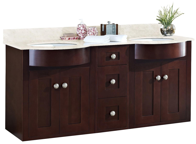 "Jade Bath JB-18519 60"" W x 22"" D Transitional Wall Mount Birch Wood-Veneer Vanity Base Set Only, Coffee durable modeling"