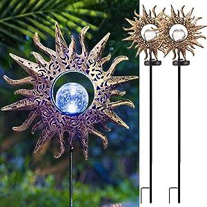 EOYIZW Sun Solar Lights Garden Decor, Garden Solar Lights Outdoor Decorative Waterproof Yard Decor Lights with Warm White LED Stake Lights for Garden, Yard, Lawn, Patio, Pathway
