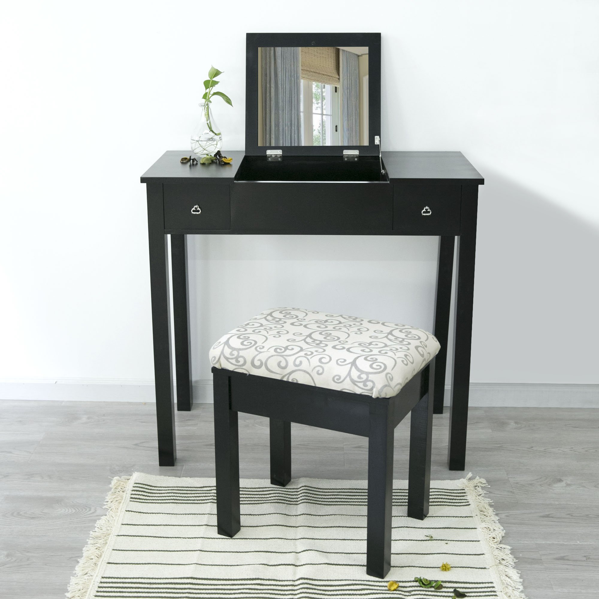 Cloud Mountain Vanity Table Set Makeup Jewelry Flip-top Mirrored Dressing Table Stool Set, Black
