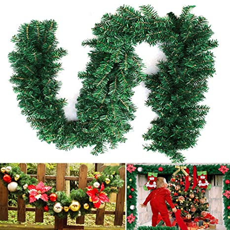 2.7M Tannengirlande Weihnachtsgirlande Weihnachtsdeko Efeugirlande künstliche Weihnachten Girlande Dekorieren Tannen Grün Nat