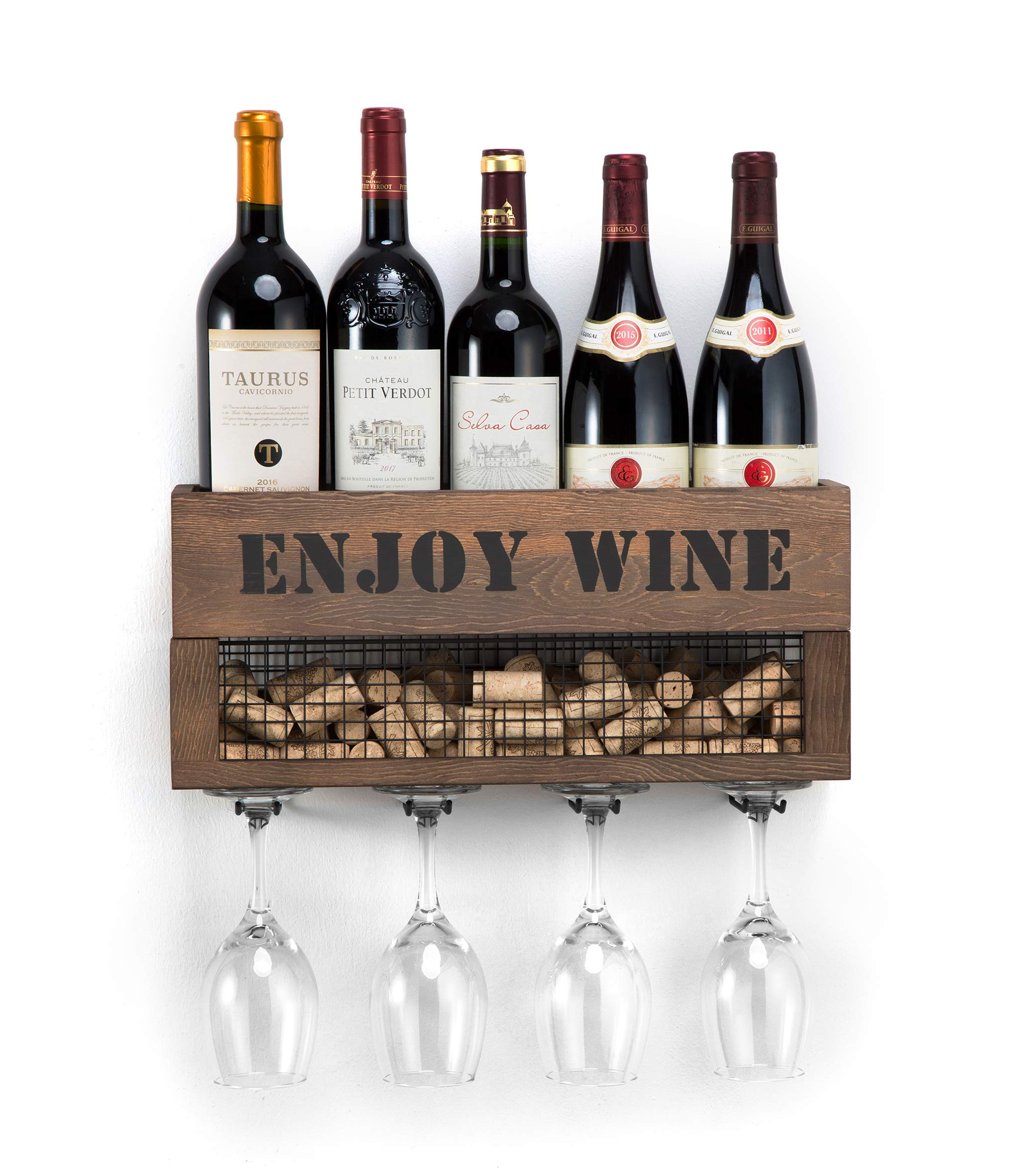 JACKCUBE Design Wall Mounted Metal and Wood Wine Rack Bottle & Glass Holder, Cork Storage Store for Kitchen, Dining Room, Bar, Wine Cellar : MK450A by J JACKCUBE DESIGN