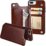 iPhone 7 Plus iPhone 8 Plus Wallet Case with Card Holder,OT ONETOP Premium PU Leather Kickstand Card Slots Case,Double Magnetic Clasp and Durable Shockproof Cover 5.5 Inch(Brown)