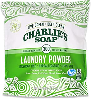 product image for Charlie's Soap Laundry Powder (300 Loads, 1 Pack) Fragrance Free Hypoallergenic Deep Cleaning Washing Powder Detergent – Biodegradable Laundry Detergent That Is Eco-Friendly, Safe, and Effective…