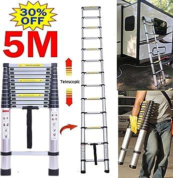 Portable Multi-Purpose 5m Foldable Telescopic Ladder 13 Steps Aluminium Extendable Ladder for Loft Home Office
