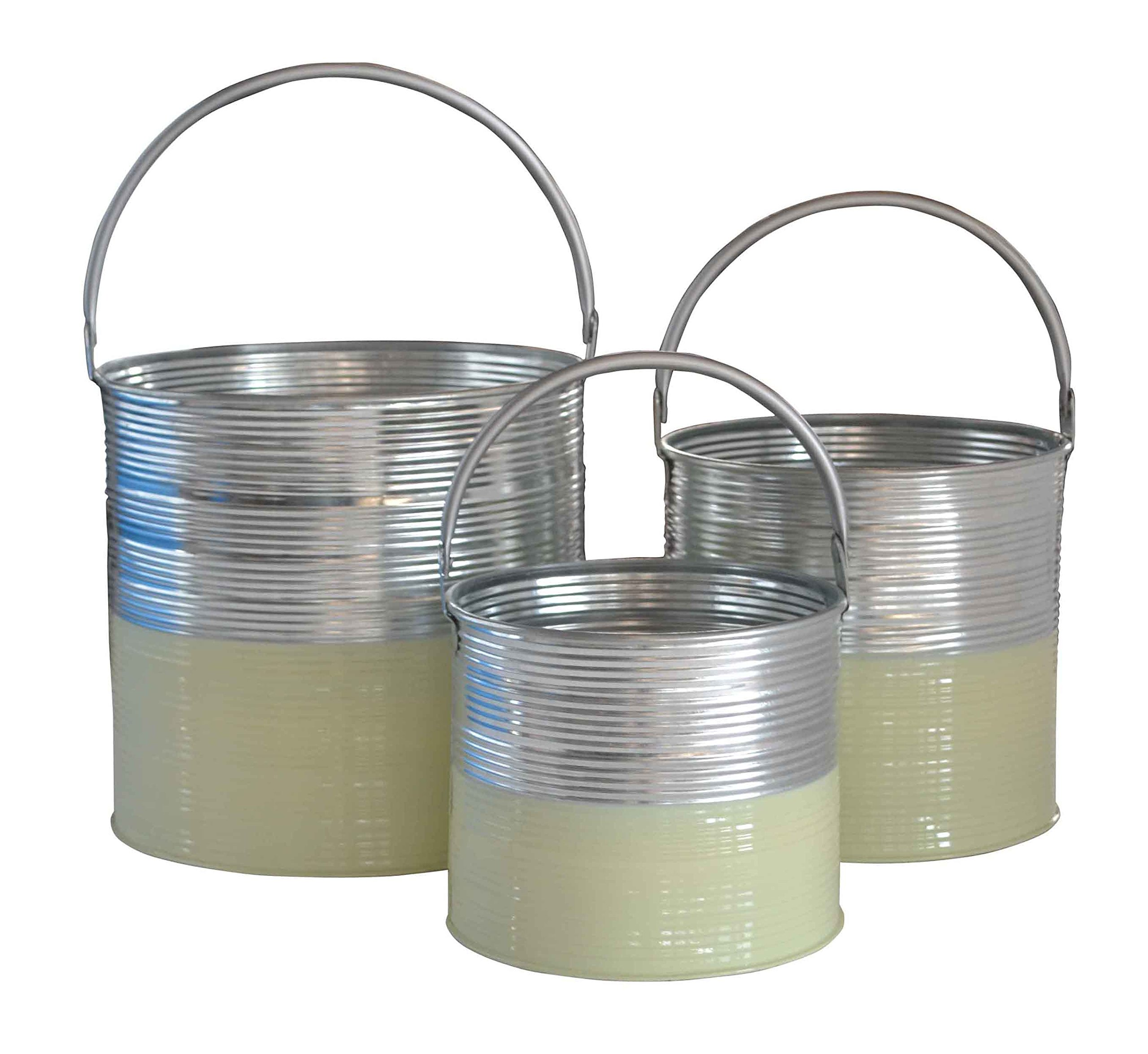 Cheung's FP-4042-3MG Galvanized Half Buckets with Handles| Set of 3| Mint Green