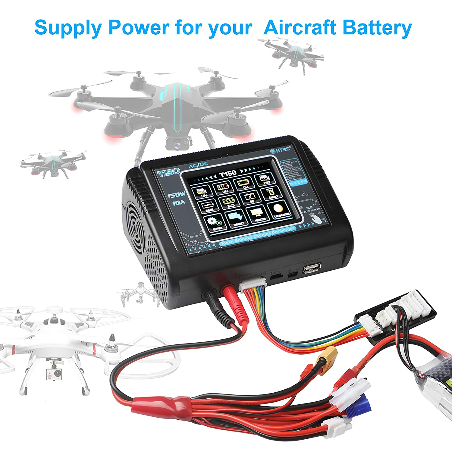 LiPo Charger,Touch Screen Balance Charger Discharger 150W 10A AC//DC  for Li-ion//Life//NiCd NiMH//LiHV//PB//Smart Battery Lipo Balance Charger