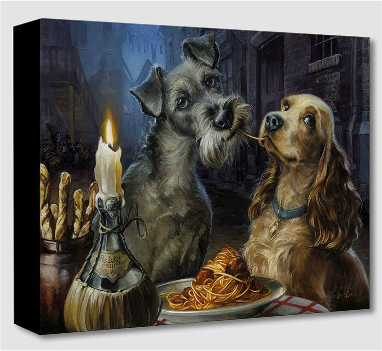 Amazon Com Disney Fine Art Bella Notte By Heather Edwards Treasures On Canvas Lady And The Tramp 12 Inches X 16 Inches Reproduction Gallery Wrapped Canvas Wall Art Posters Prints