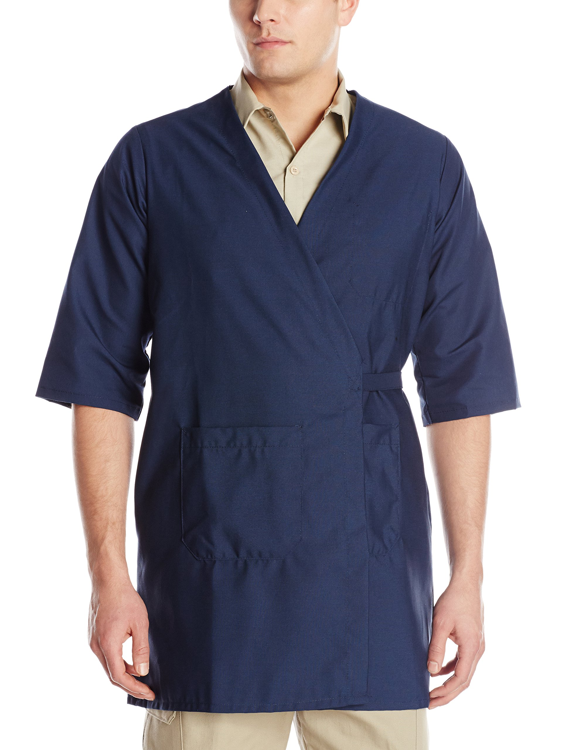 Red Kap Men's CollarleShort Sleeve Butcher Wrap, Navy, Medium by Red Kap