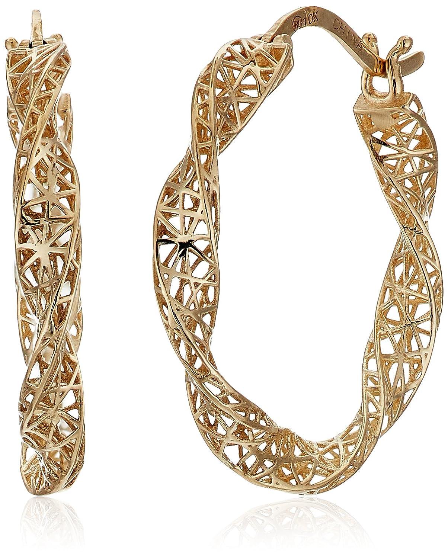 10k Yellow Gold Twisted Mesh Hoop Earrings TRE036934Y
