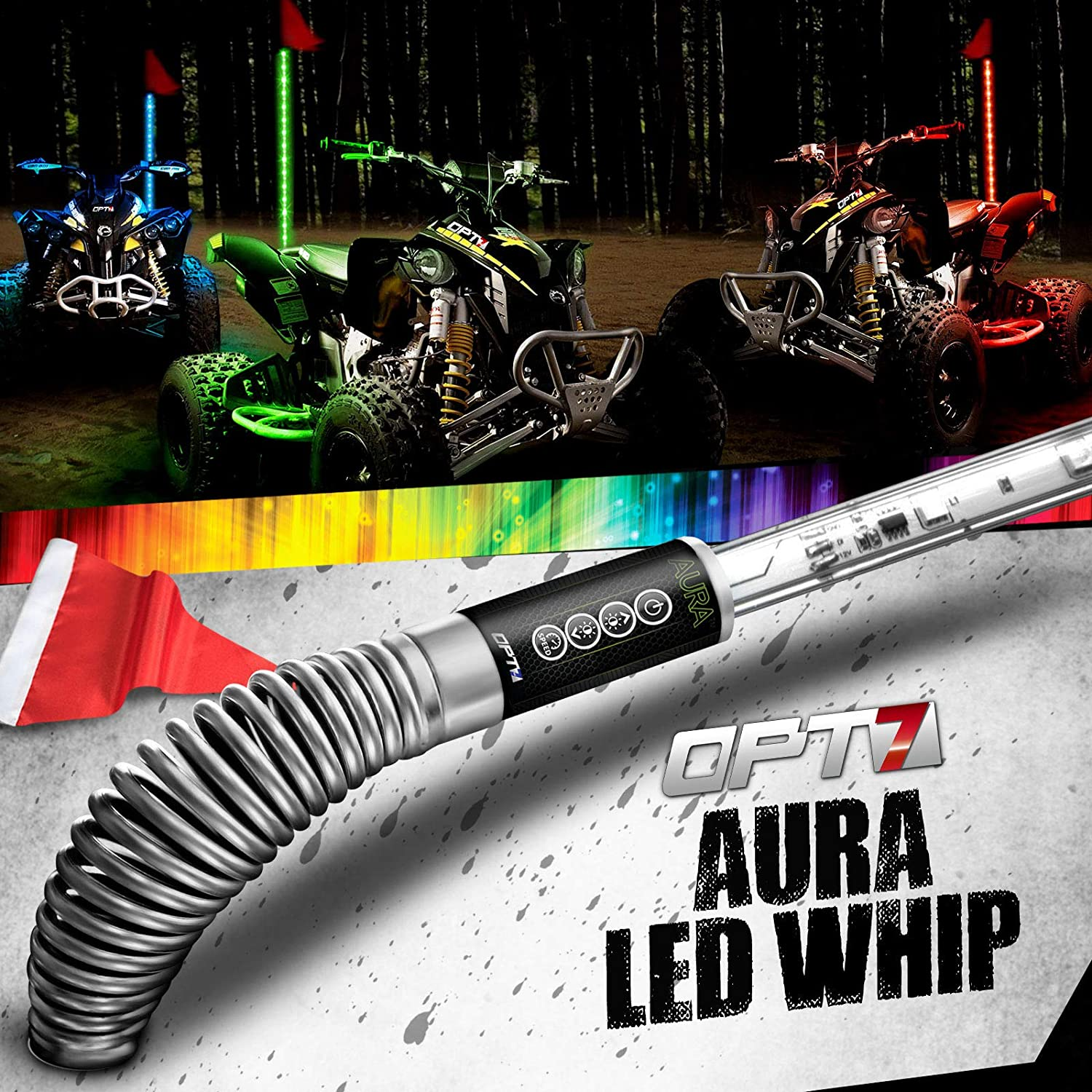 Remote 64+ Multi-Color Light Patterns OPT7 Aura 6ft LED Whip Pair w//Quick Release Shock Spring Shatterproof Waterproof Build Flag Accessories for All-Terrain Off Road ATV Polaris RZR 4 Wheeler