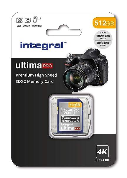 Integral - Tarjeta SD de 256 GB (4 K, Alta Velocidad, SDXC, hasta 100 MB/s, V30, UHS-I, U3) 512 GB. 512 GB