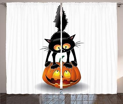 Halloween Decoración cortinas por Ambesonne, Negro Gato de cabeza de ...