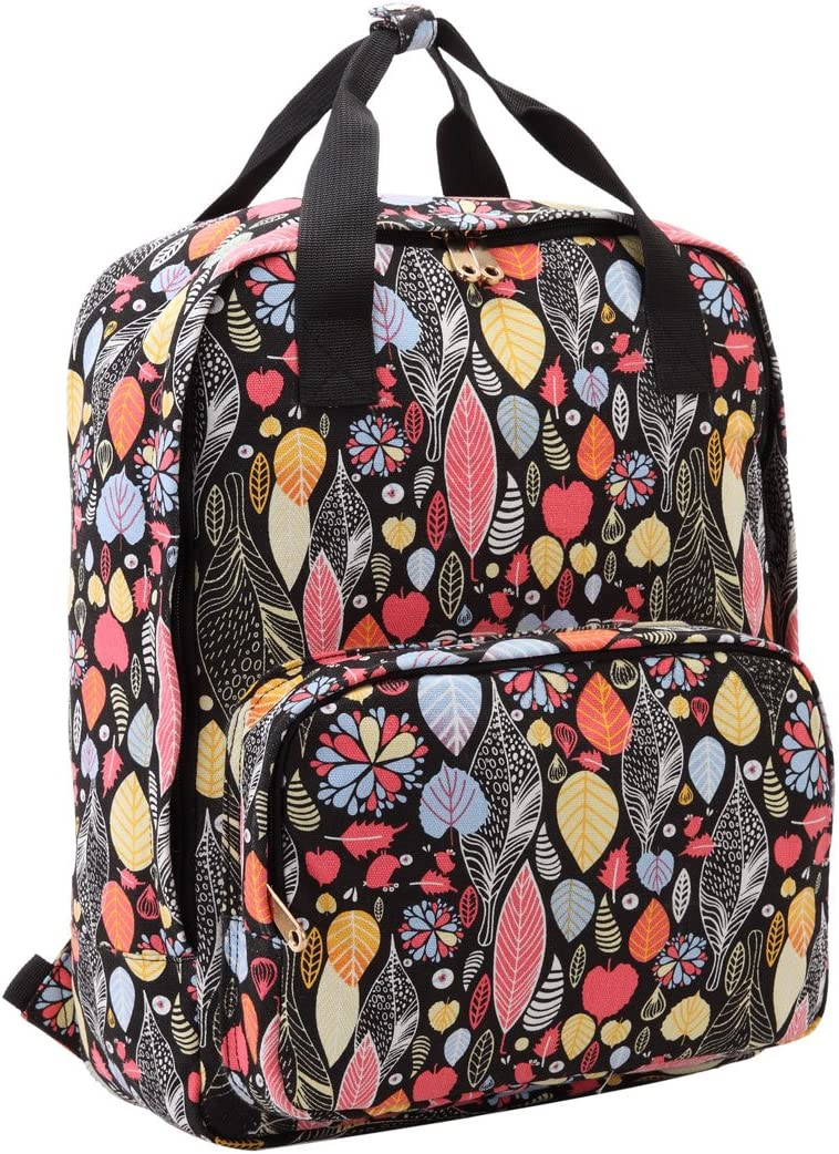 Hand Luggage Compliant W30cm xH39 xD12 14L QL5173K Black Azteca Quenchy London Ladies Laptop Backpack Bag with Padded 15.6 Inch Notebook Pocket and Top Handles