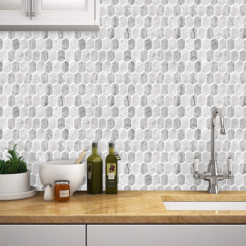 Tic Tac Tiles Peel CHPS et dosseret de carreaux de mur bouchon en nid dabeille 6 Grigio