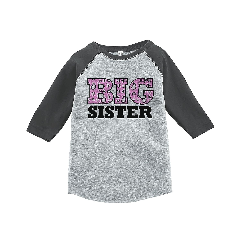 7 ate 9 Apparel Girls Big Sister Grey Baseball Tee