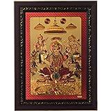 eCraftIndia Laxmi Ganesh Saraswati Framed Synthetic Wood Laminated Golden Foil (28 cm x 1.3 cm x 38.1 cm)
