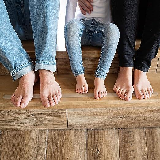 Cinta Antideslizante - Tiras Antideslizantes,para Duchas, Bañeras y Escaleras, Adecuado para Escalones, Pasillos de Pisos Laminados,17.78x1.27cm(12 Piezas)- Forma de S: Amazon.es: Hogar