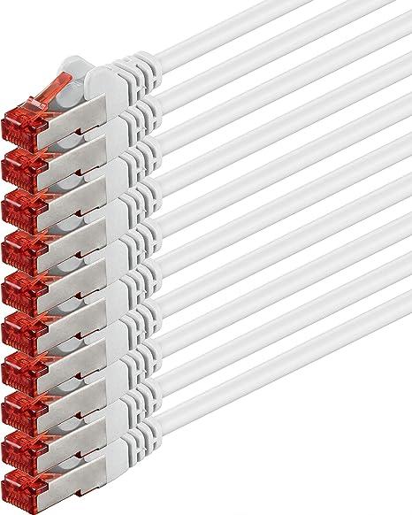 1aTTack Lot de 5 c/âbles r/éseau blind/é par Feuille cat/égorie 5 FTP avec 2 fiches RJ45 2 m Blanc