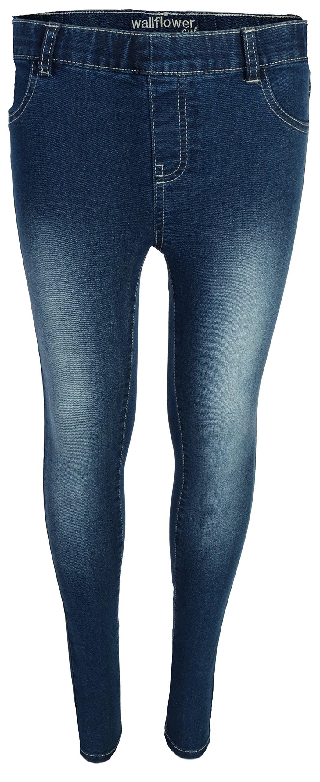 WallFlower Jeans Girls Soft Denim Stretchy Jeggings, Medium Wash, Size 14/16'