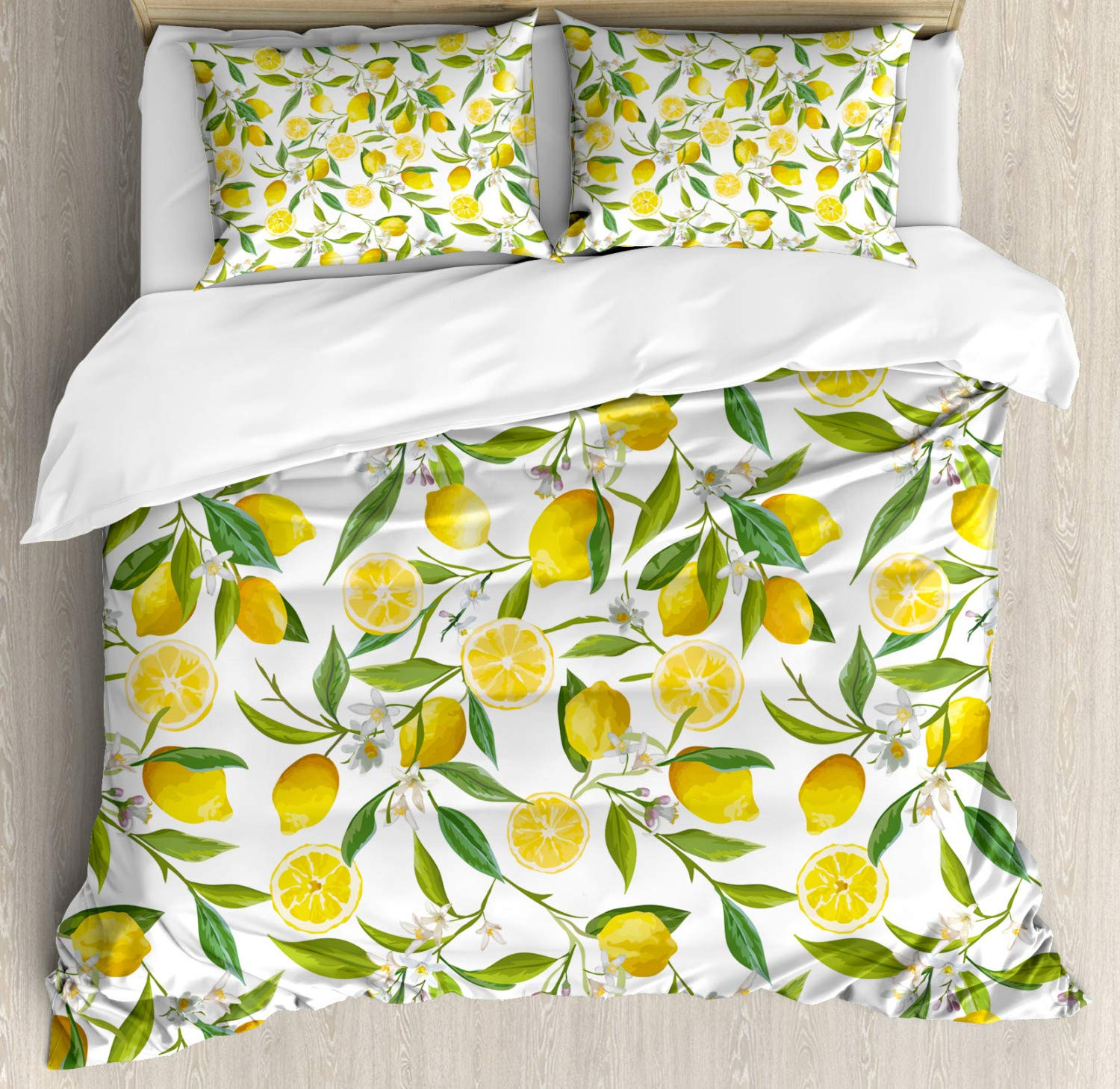 Ambesonne Nature Duvet Cover Set, Exotic Lemon Tree Branches Yummy Delicious Kitchen Gardening Design, 3 Piece Bedding Set with Pillow Shams, Queen/Full, Fern Green Yellow White