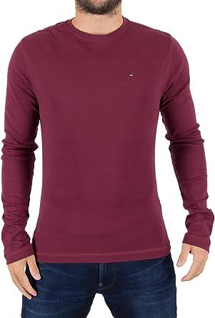 Tommy Hilfiger Denim Hombre Logotipo Original de la Camiseta Longsleeved, Rojo, XX-Large: Amazon.es: Ropa y accesorios