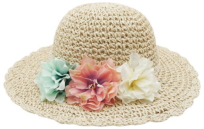 Bienvenu Girl Kids Summer Wide Brim Floppy Beach Sun Visor Hat with Flowers 14a4cbd8499