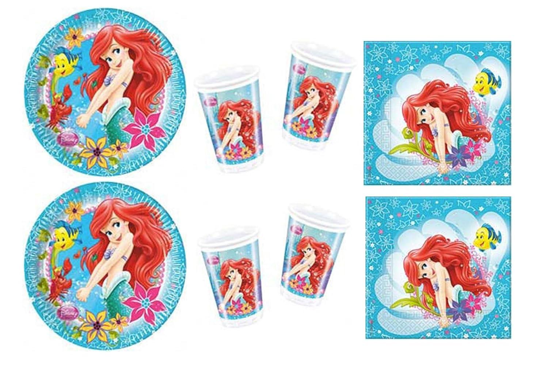 Kit nº 3 de adornos para fiestas con motivos de La Sirenita Ariel: 24 platos, 24 vasos, 40 servilletas