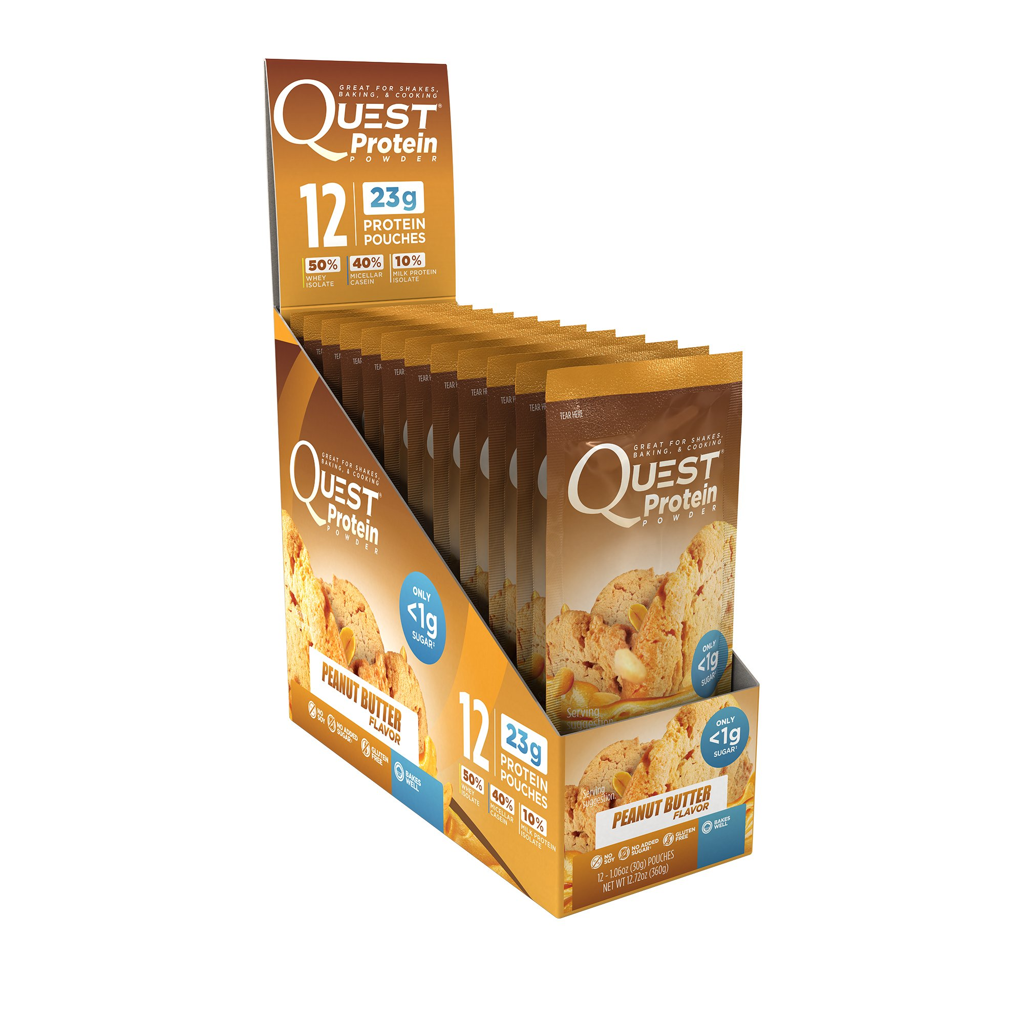 Quest Nutrition Protein Powder, Peanut Butter, 23g Protein, 84% P/Cals, 0g Sugar, 1g Net Carbs, Low Carb, Gluten Free, Soy Free, 1.13oz Packet, 12 Count