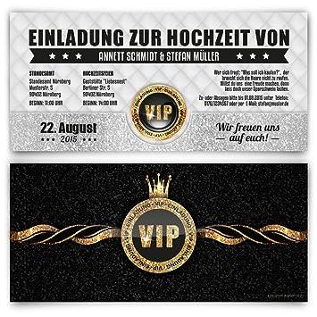 Einladungskarten Zur Hochzeit (10 Stück) VIP Ticket Gold Edel Krone  Einladung UV Lack