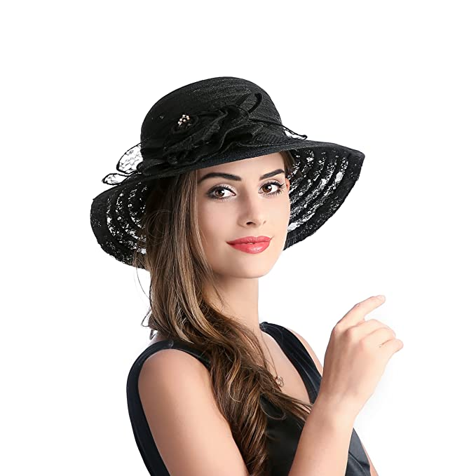 f4f9e5bbdf31f Image Unavailable. Image not available for. Color  Dantiya Summer Lace  Beach Sun Hat Kentucky Derby Church Dress Bucket Hat