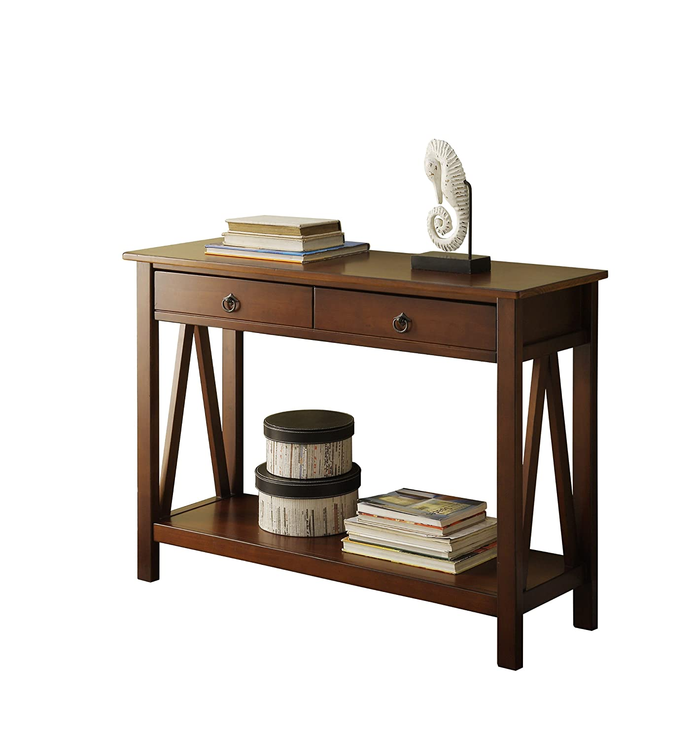 Linon Home Dcor 86152ATOB 01 KD U Console Table 4201 W X 1398 D 3071 H Antique Tobacco Amazonca Kitchen
