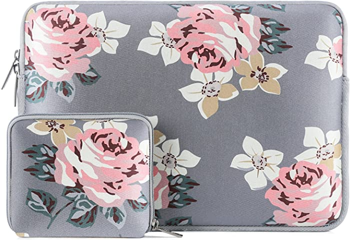 MOSISO Laptop Sleeve Compatible with 13-13.3 inch MacBook Pro, MacBook Air, Notebook Computer, Water Repellent Neoprene Rose Bag with Small Case, Gray